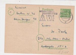 Berlin 1951 Berlin SW11 Cancel International Film Festival Stamps Card Ref 25892