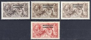 Morocco 1914 2s6d WAT, DLR, BW + 5s BW SG 50-54 Sc217(x2)-219 LMM Cat £207($271)
