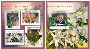 Niger 2016 flowers orchids klb+s/s MNH