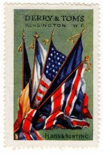 (I.B) Cinderella Collection : Derry & Toms Publicity Stamp (Flags & Bunting)