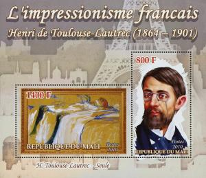 Mali French Impressionism H. Toulouse Lautrec Art Sov. Sheet of 2 Stamps Mint NH