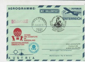 Austria 1982 Pro Children 20 Yr Cancel Balloon Post Stamps Aerogramme Ref 28079