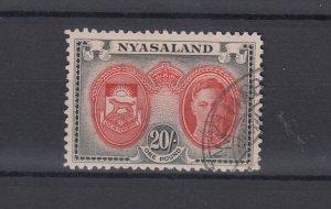 Nyasaland KGVI 1945 20/- Scarlet Black SG157 VFU  JK5414
