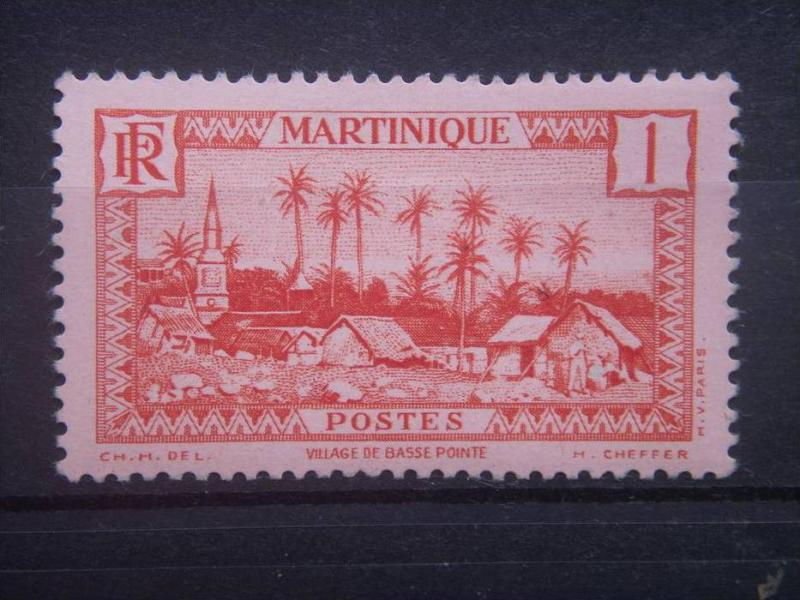 MARTINIQUE, 1933, MNH 1c, Village of Basse-Pointe Scott 133