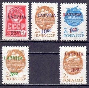 Latvia. 1992. 335-39. Overprint standard. MNH.