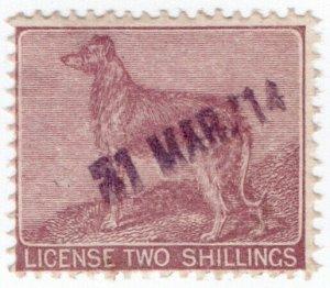 (I.B) George V Revenue : Ireland Dog Licence 2/- (1914)