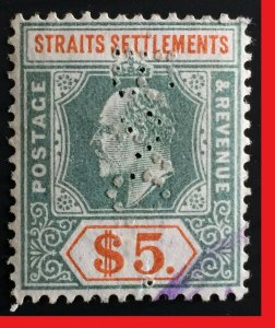 Malaya Straits Settlements 1902 KE VII Crown CA $5 PERFIN SG#121 M2510A