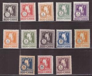 French Indo-China Scott J31-J43 MH* 1932 Angkor Wat Postage due set