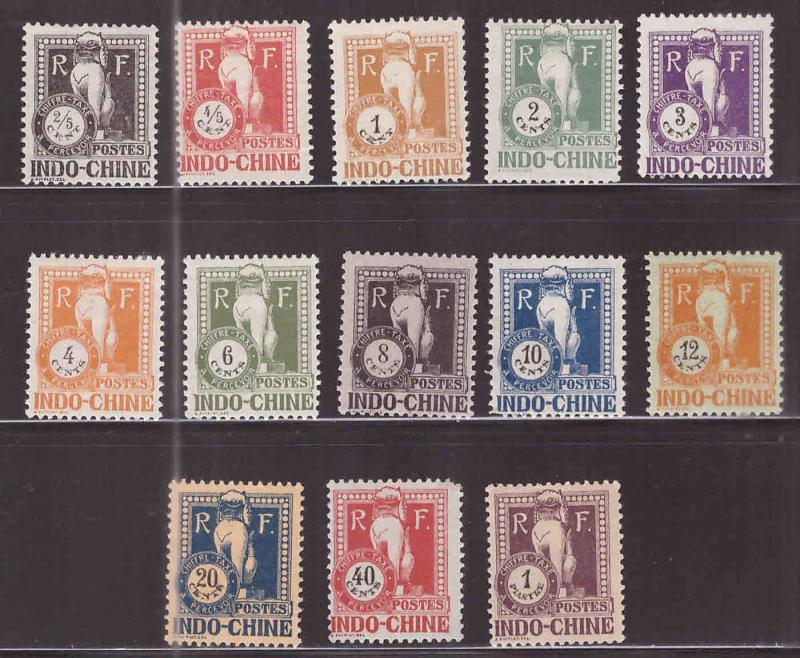 French Indo-China Scott J31-J43 MH* 1932 Angkor Wat Postage due set