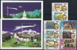 1986 Bhutan Halley´s Comet, Space, 2 Sheets+ 2 complete sets VF/MNH, CAT 30$
