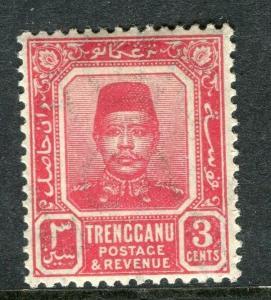 MALAYA TRENGGANU; 1910 early Sultan Zain issue Mint hinged 3c. value