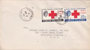 Virgin Island 1963 Scott 141-142 Red Cross Centenary First Day Cover Address  VF