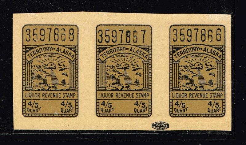 US STAMP BOB  #Alaska Liquor Tax Stamp SELF ADHESIVE STAMP MNH STRIP OF 3