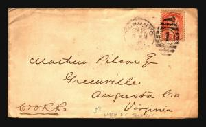 Canada 1882 Cover to VA w/ DC Transit Back Stamp - Z15362