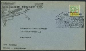 1933 Brasil to Germany Luftschiff Graf Condor Zeppelin Air Mail Postal Cover