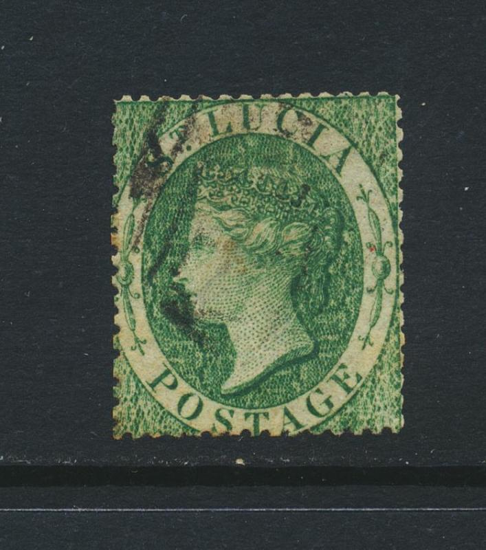 ST LUCIA 1860, 6d GREEN, VF USED SG#3 CAT£300 $399 (SEE BELOW)
