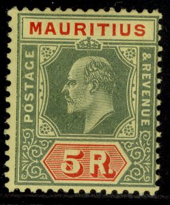 MAURITIUS EDVII SG194, 5r green & red-yellow, LH MINT. Cat £50.