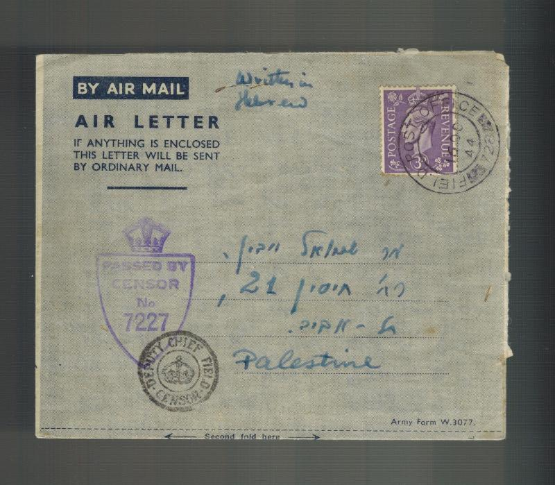 1944 England Field Post Office Censored Letter Cover to Palestine in Hebrew