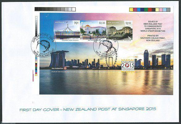 NEW ZEALAND SINGAPORE AUSTRALIA 2015 IMPERF sheet on FDC..................46196