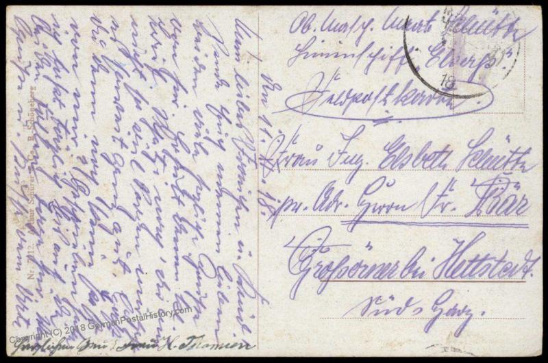 Germany Nov 11 1918 WWI Navy SMS Elsass MSP Feldpost Cover Marineschiffspo 82994