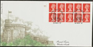 18/11/1997 £2.60 HARRISON 10 x 1st NVI WINDOW CYL.NO BOOKLET COMPUTER ETCHED FDC