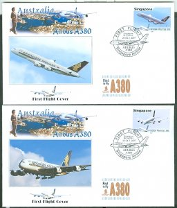 SINGAPORE-AUSTRALIA  2007... A380 (2) FIRST FLIGHT COVERS