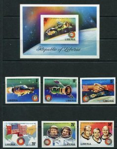 Liberia 1975 Apoillo Soyuz Space Project Souvenir Sheet+Stamps Imperf MNH 6205