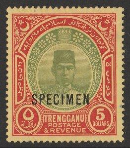 MALAYA - Trengganu : 1921 Sultan $5, wmk mult crown, SPECIMEN.