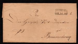 $German Stampless Cover, Hamburg-Braunschweig, 1832, reverse box date