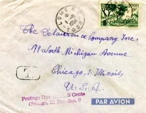 Togo 15F Houses of the Cabrais 1954 Lome R.F. Togo Airmail to Chicago, Ill.  ...