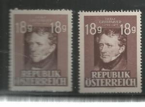 AUSTRIA, 489-490, MNH, FRANZ GRILLPARZER, DRAMATIC POET