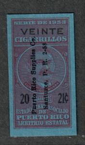 US Puerto Rico 1953 Cigarette Revenues 20 @ 21c