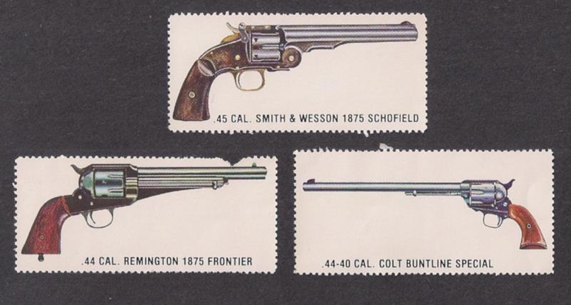 GUN LABELS: Three diff All Mint w gum. One w/ flt 1950s? Remington COLT