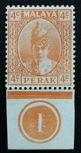 Malaya Perak 1939 Sultan Iskandar 4c MH Margin Plate 1 SG#107 M2260