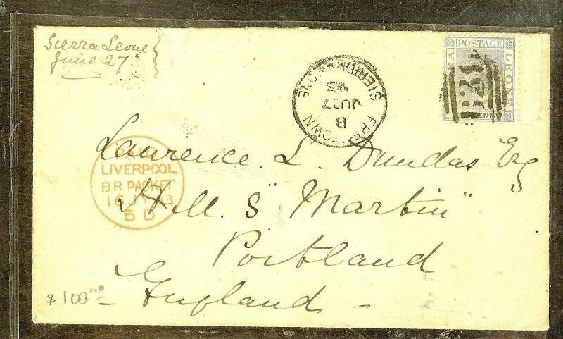 SIERRA LEONE (P2909B) 1893 QV 2 1/2D ON COVER TO ENGLAND