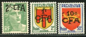REUNION Sc#283-285 1950 Overprints on France Complete Set OG Mint NH