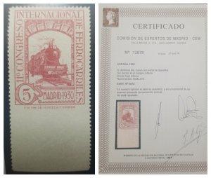 O) 1930 SPAIN, IMPERFORATE ON BOTTOM MARGIN, TRAIN, RAILWAY CONGRESS 5c lila