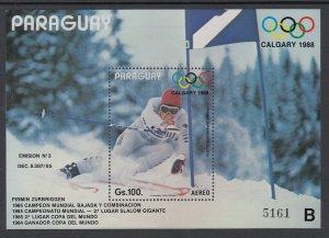 Paraguay C684 Winter Olympics Souvenir Sheet MNH VF
