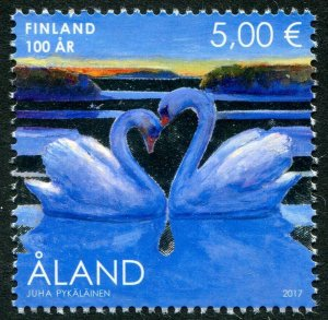 HERRICKSTAMP NEW ISSUES ALAND Sc.# 395 Finland - Swans with Silver Foil