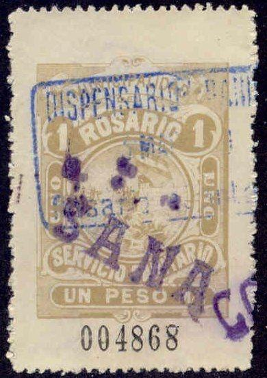 Rosario Argentina 1910 1P Hooker Tax Stamp w/ purple Sana + Co line handstamps