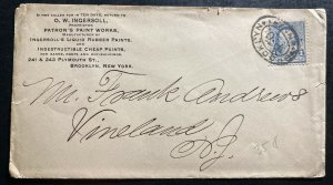 1890s Brooklyn NY USA Advertising Cover To Vineland NJ Ingersoll