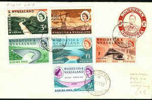 RHODESIA QEII FDC Unusual First Day Cover KGVI 1d Stationery Causeway 1960 PB377