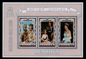 Penrhyn Sc 89a 1977 25th Anniversary Reign of QE II  sheet mint NH