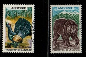 Andorra (Fr) Sc 203-4 1971 bird & bear Nature Protection stamp set used