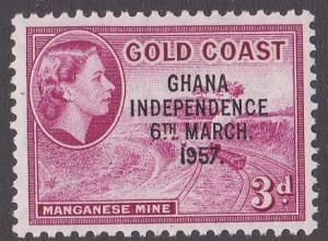 Ghana # 8 Independence Overprint on Gold Coast Stamp, NH