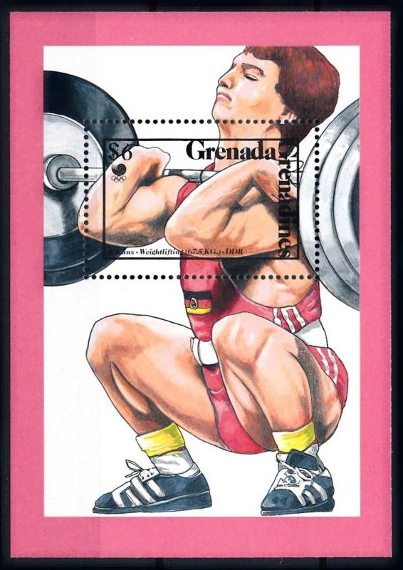 [92166] Grenada Grenadines 1989 Olympic Games Seoul Weightlifting Sheet MNH
