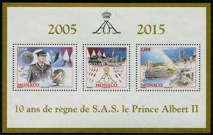 HERRICKSTAMP NEW ISSUES MONACO Sc.# 2809 Prince Albert II 10th Anniv. S/S