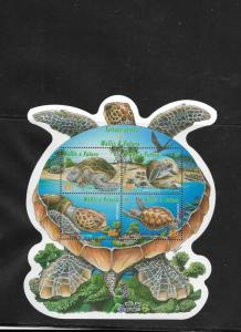 RO) 2005 WALLIS AND FUTUNA, TURTLE CHELOMIA-GREEN,  HABITAT, ODD SHAPE MNH