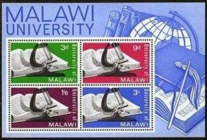 Malawi 36a sheet,MNH.Michel Bl.4. University of Malawi,1965.Globe,Microscope.