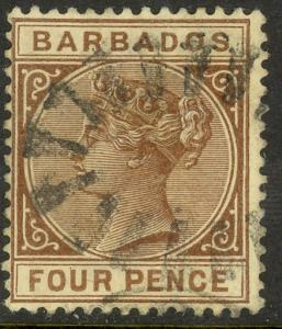 BARBADOS 1882-85 QV 4d Brown Portrait Issue Sc 65 VFU